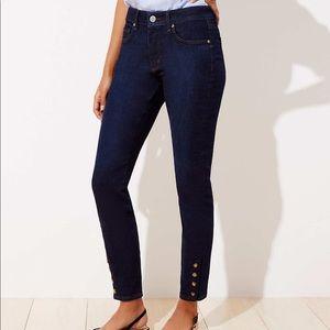 Loft Curvy Snap Hem Skinny Jeans